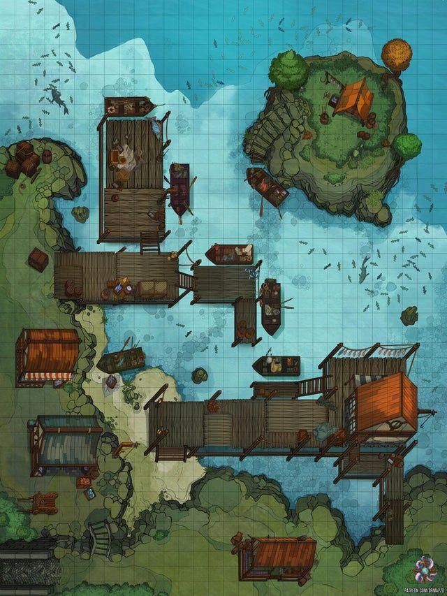 Dnd Dock Map : Docks, Battle, 30x40, Battlemaps, Tabletop, Maps,, Fantasy, Dungeon