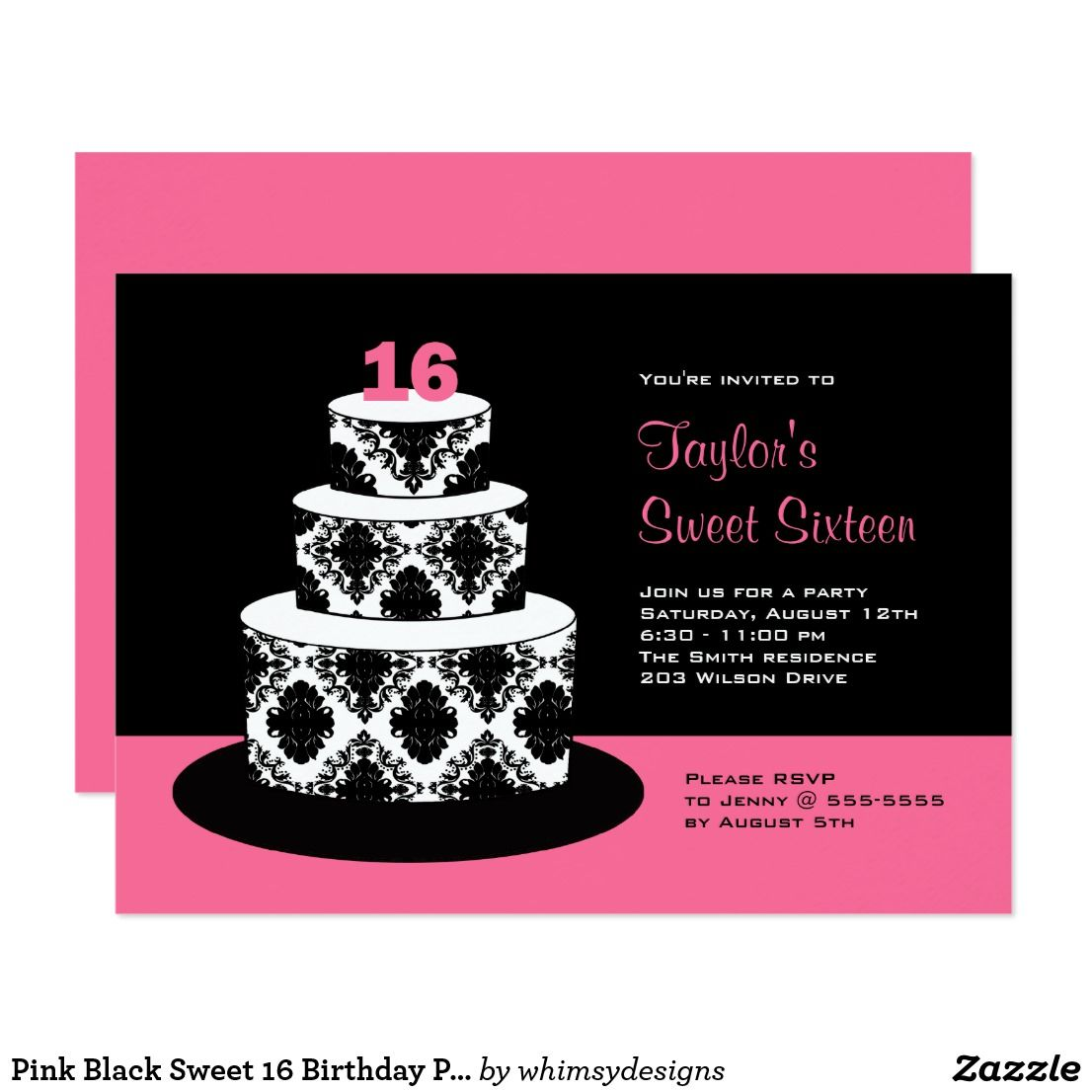 Pink Black Sweet 16 Birthday Party Invitations | Birthday sweets ...