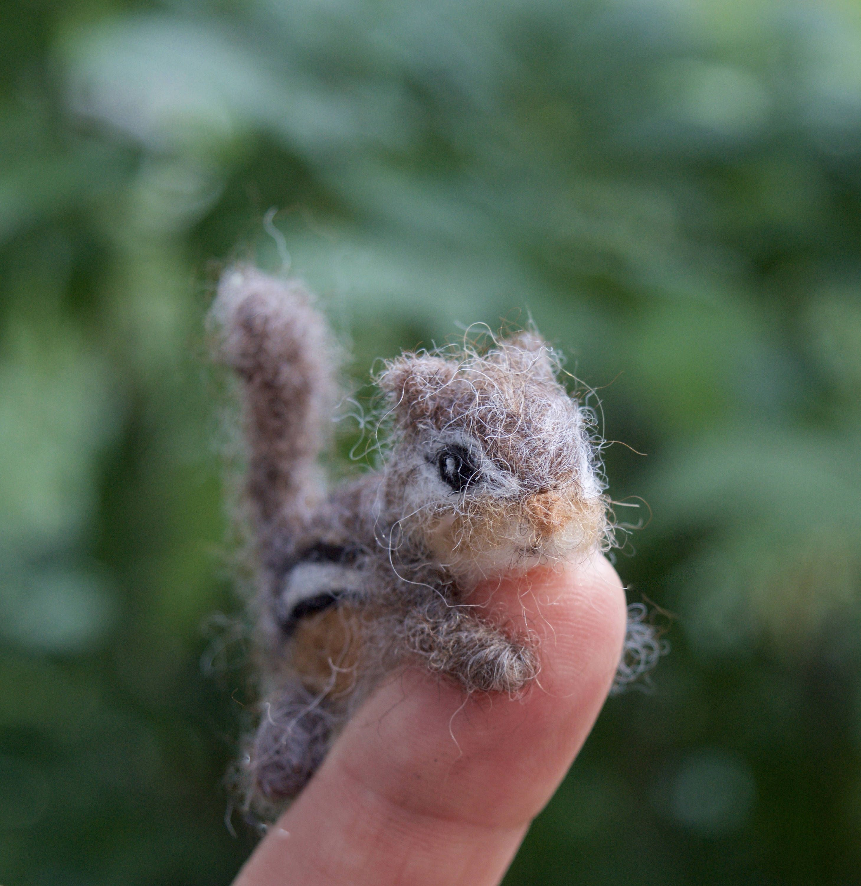 Tiny Chipmunk Needle Felted, Miniature Animal