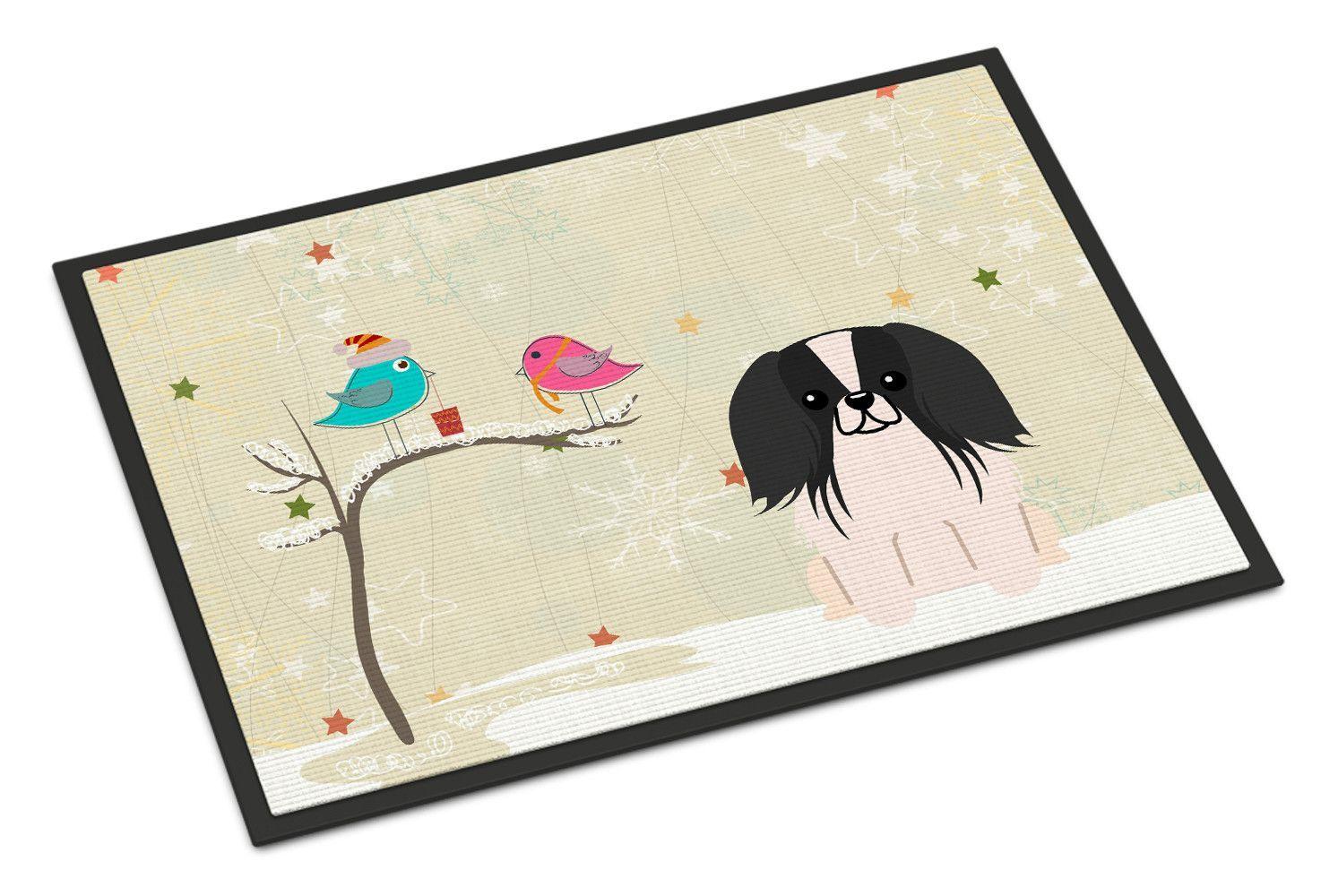 Christmas Presents between Friends Pekingnese Black White Indoor or Outdoor Mat 18x27 BB2577MAT