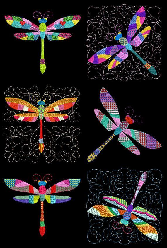 Patchwork Dragonflies 4inch 24 Machine Embroidery Designs