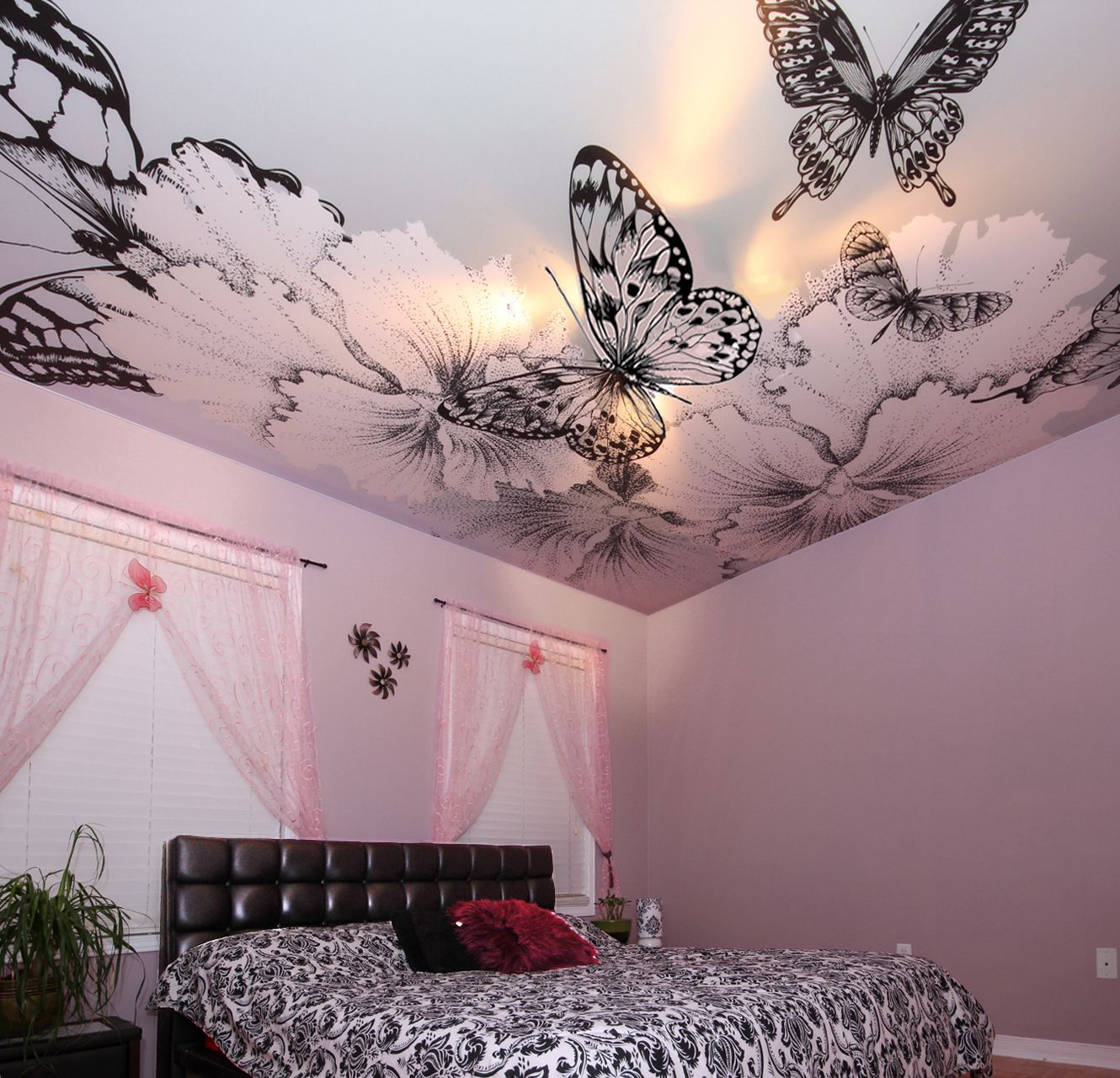 A Girls Bedroom With A Butterfly Graphic Printed On Stretch Ceiling By Laqfoil Http Blog Bedroom Design Inspiration Butterfly Bedroom Wall Murals Bedroom