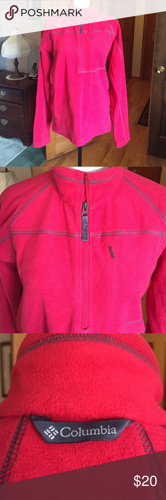 SUPER CUTE COLUMBIA pull over SUPER CUTE Columbia pullover fleece top red with gray detail. (Looks pink in some pics but pic 3 is closest color). Great used condition. Columbia Jackets & Coats