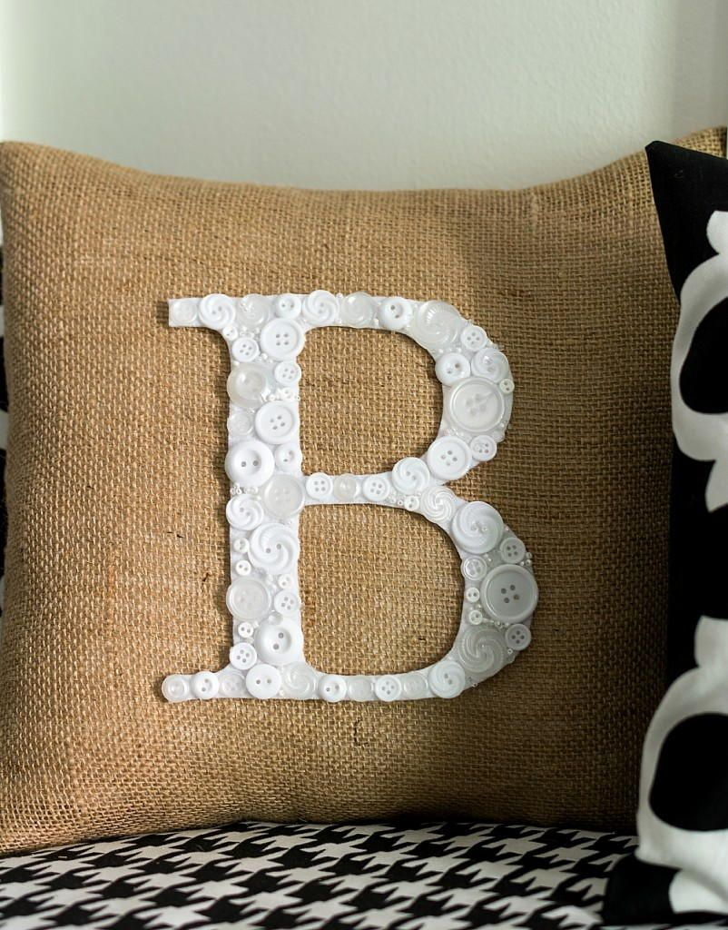 Button monogram diy pillow pattern monograms button crafts and
