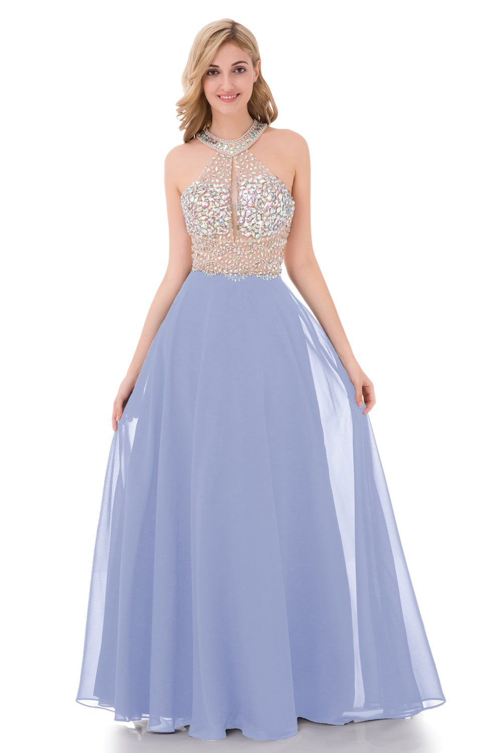 Yunuo sparkly crystal beading prom dresses long sexy open back