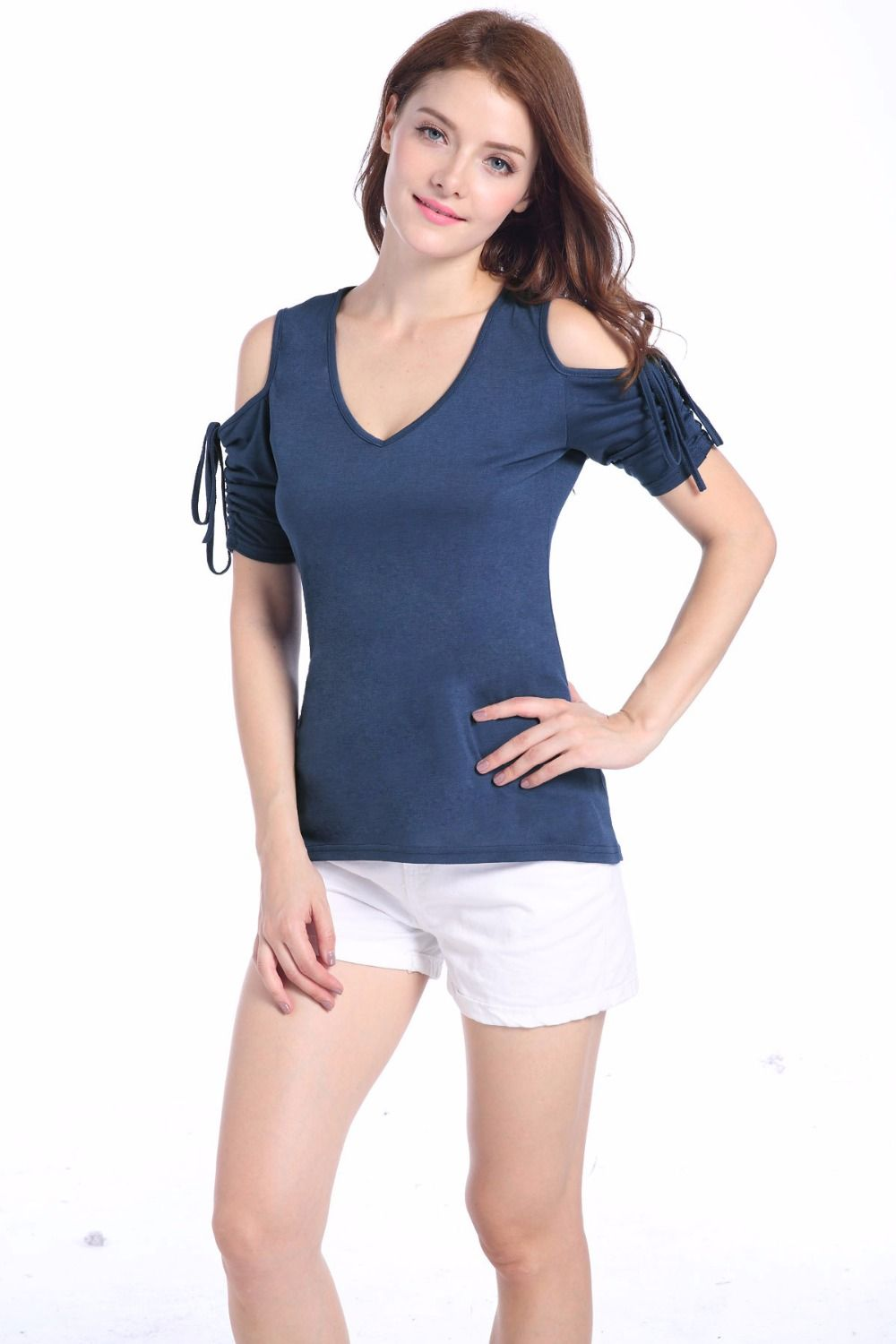 f094833763 Click to Buy    Hot sale summer new fashion short sleeve V collar ...