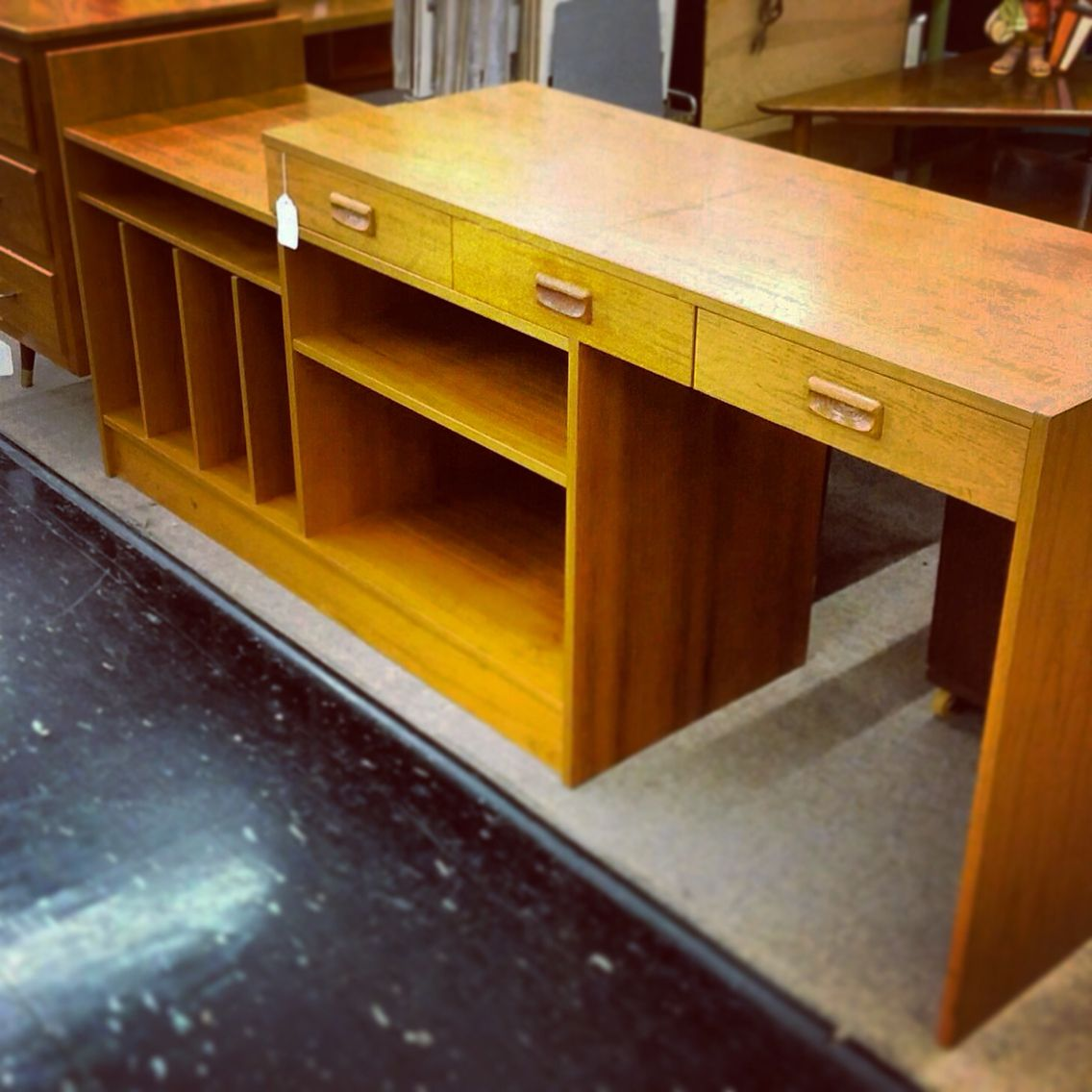 Beautiful Danish Modern Teak, Convertible Desk/media Cabinet. This Fantastic Piece  Slides Longer To