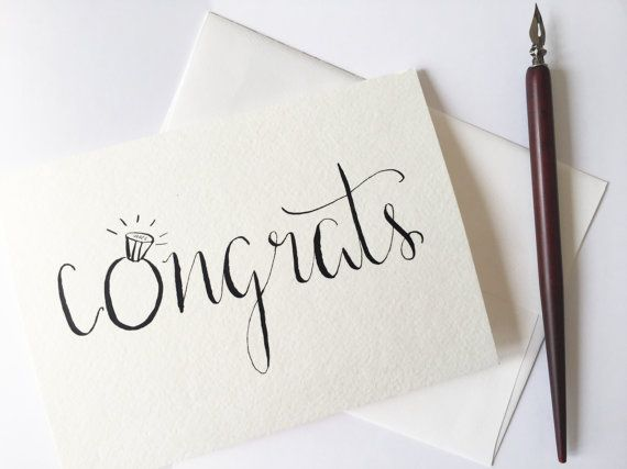 Engagement Card Congratulations Card Wedding By Penpaperinkco