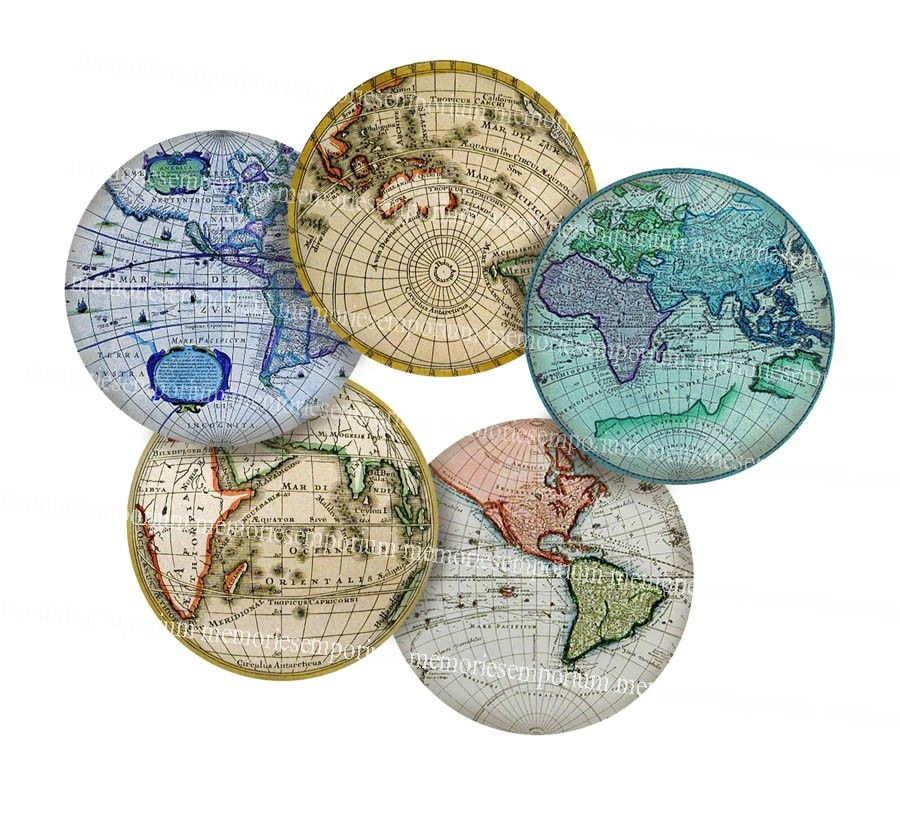 Antique World Globe Maps Earth Continents Hemispheres