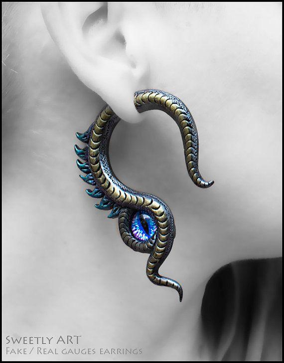 Dragon Fake Gauges Gauge Plug Earrings Eye By Sweetlyart