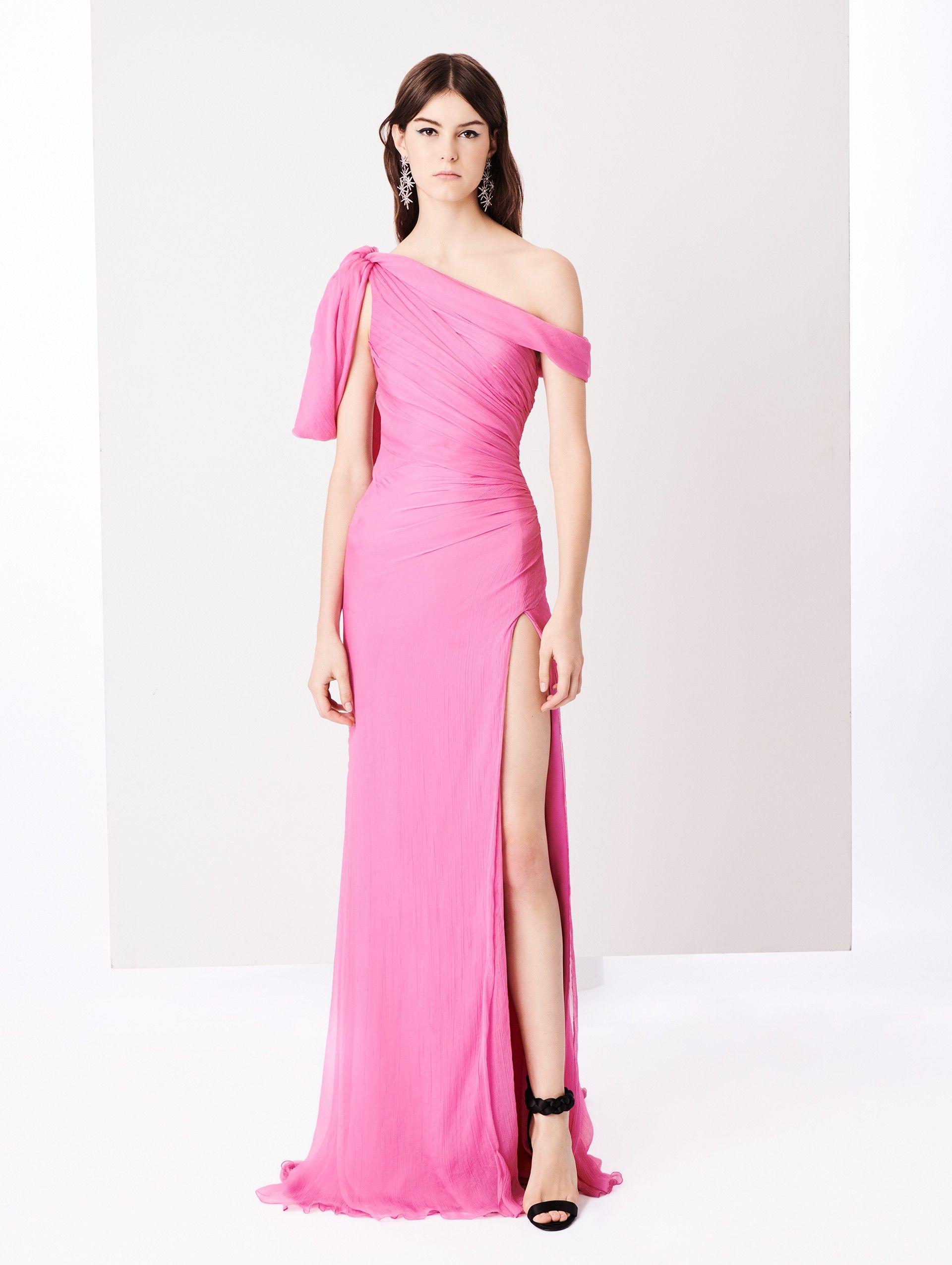 one-shoulder draped gown - Pink & Purple Oscar De La Renta P9TDOamP