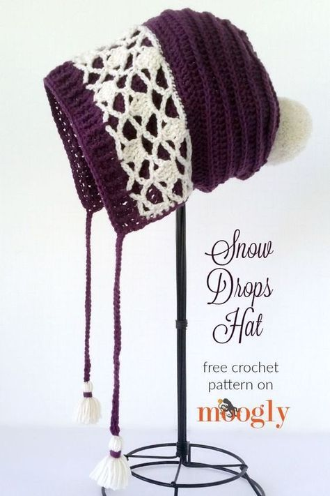 Snow Drops Hat - free crochet pattern on Moogly! Make it with LB ...