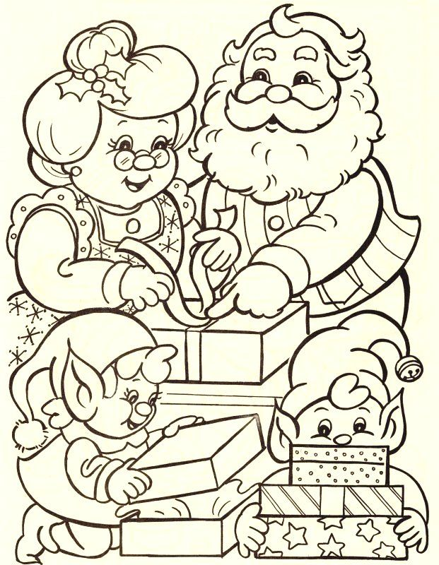 Papa Y Mama Noel Con Duendecitos Christmas Coloring Sheets Santa Coloring Pages Christmas Coloring Books