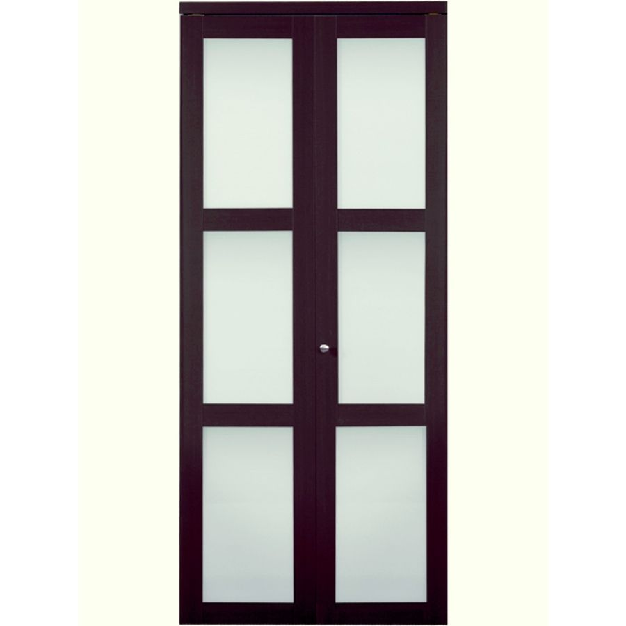 Reliabilt 30 In X 80 1 2 Espresso 3 Lite Solid Tempered Frosted Gl Interior Bifold Closet Door At Lowes