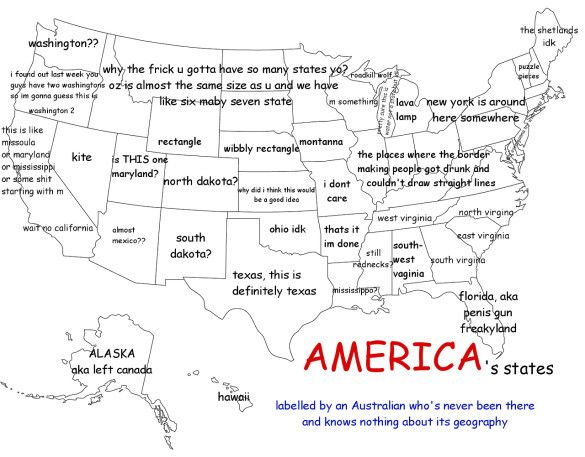 An Australian Man Who Has Never Been To The US Drew A Hilarious - Australia us map
