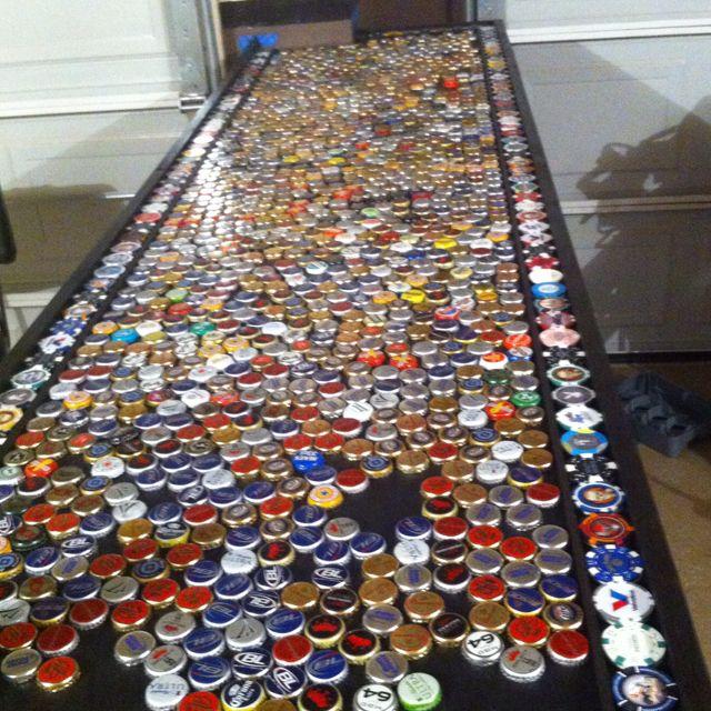 Beer bottle caps for our garage bar!   Man cave home bar ...