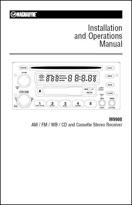 Magnadyne M9900 Installation and Operation Manual Magnadyne - operation manual