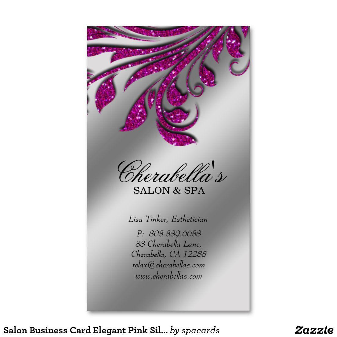 Salon Business Card Elegant Pink Silver Glitter HP | Business cards ...