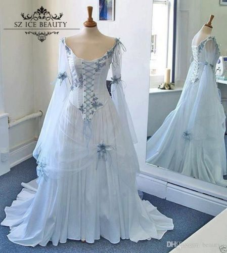 Vintage Long Sleeves Princess Bridal Gowns Medieval Gothic Ball ...