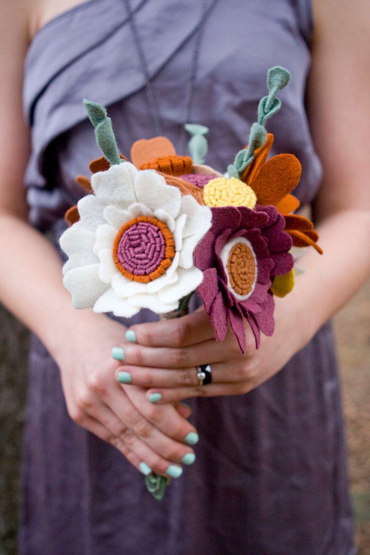 Wildflower felt wedding bouquet custom made to order wildflower felt wedding bouquet custom made to order alternative to fresh flowers 10700 via etsy izmirmasajfo