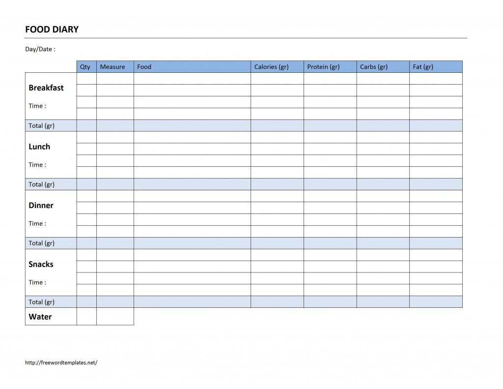 Food Diary Log  Templates    Food Diary Logs And Food