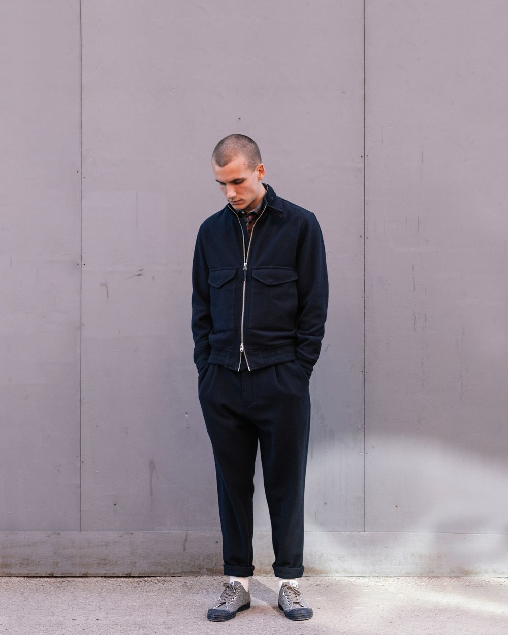 Tom from Rough Trade Notts wearing our Aviator Jacket and Pleat pant in Wool…