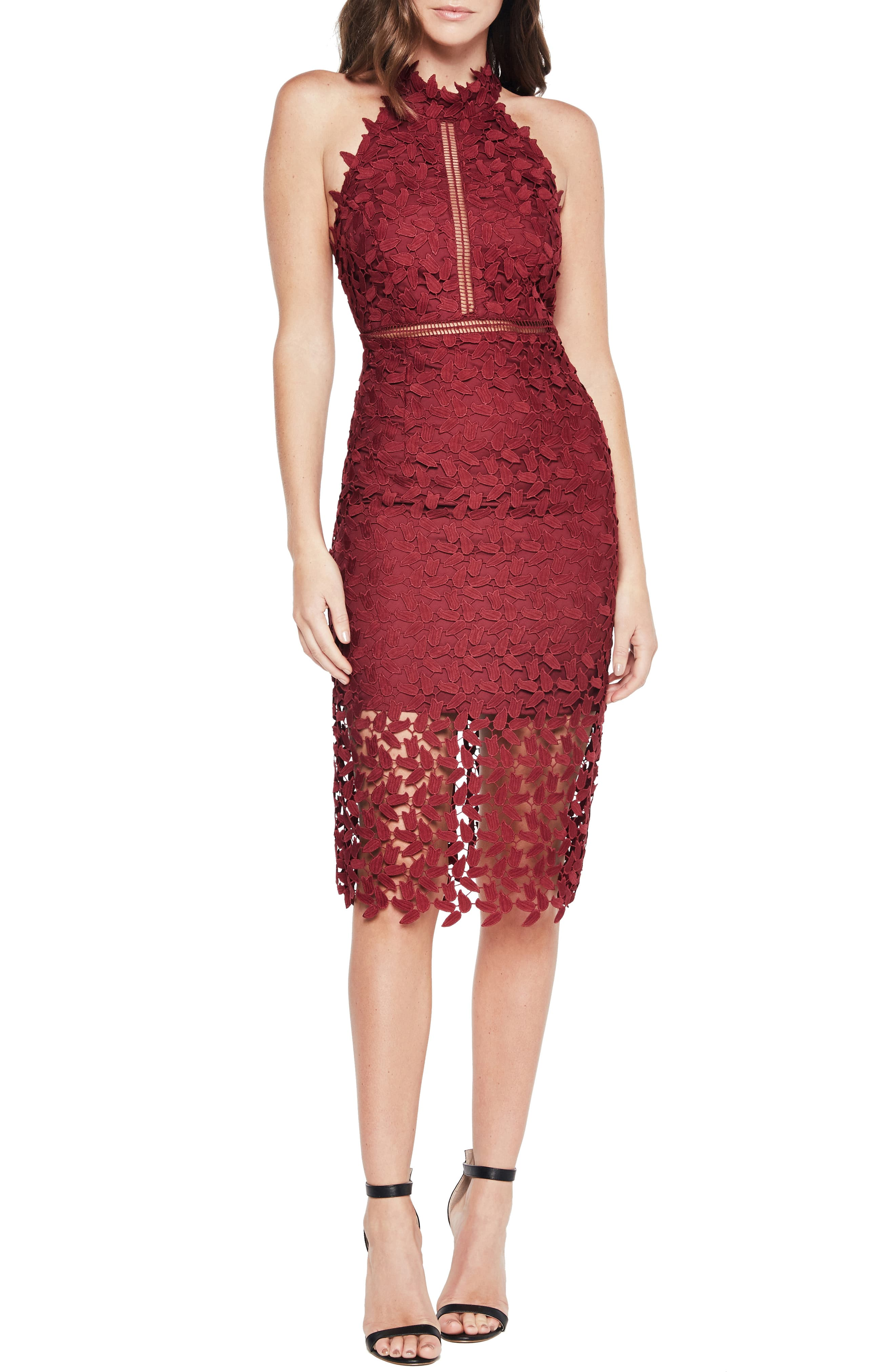 Womens Bardot Gemma Halter Lace Sheath Dress Size Small