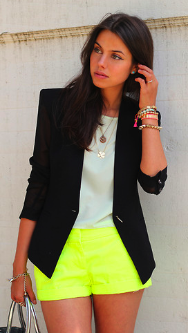 428dde264bf5 Pin by Lana Hunt on My style | Fashion, Yellow shorts outfit, Neon ...