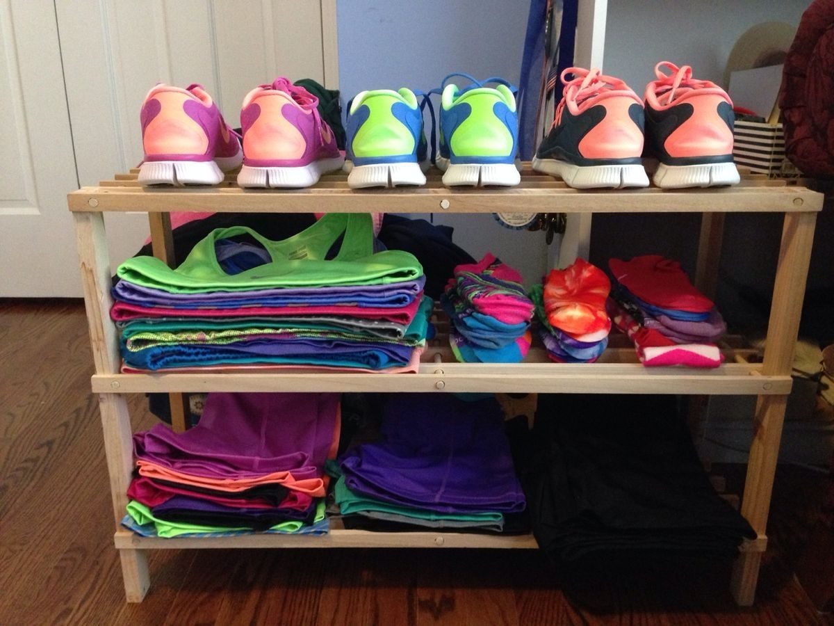 Organize running workout clothes gear fitness