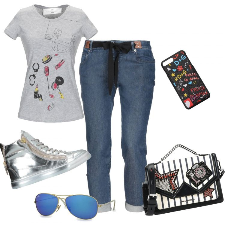 Donna Jeans E Maglietta Jeans Colorata ZiOXkTPwu