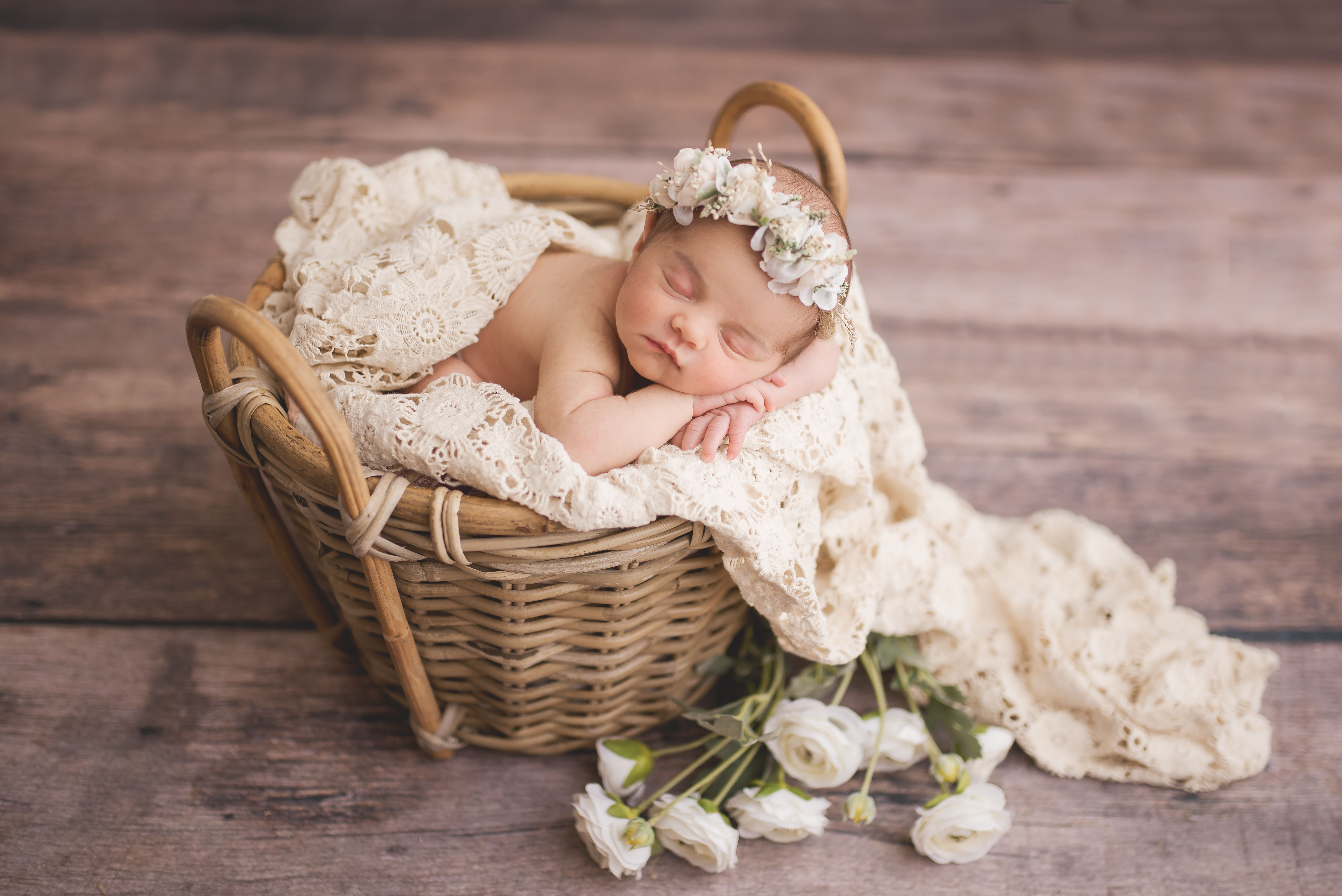 Kelly kristine photography newborn baby girl and flowers