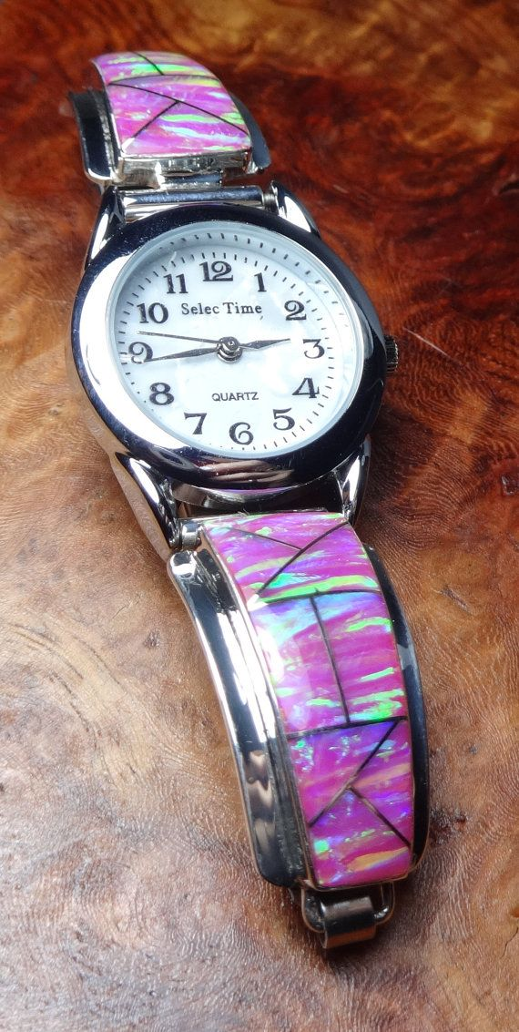 Watch, Opal Sterling Silver Inlay, Women's Petite Pink, Native American Style (M23C)