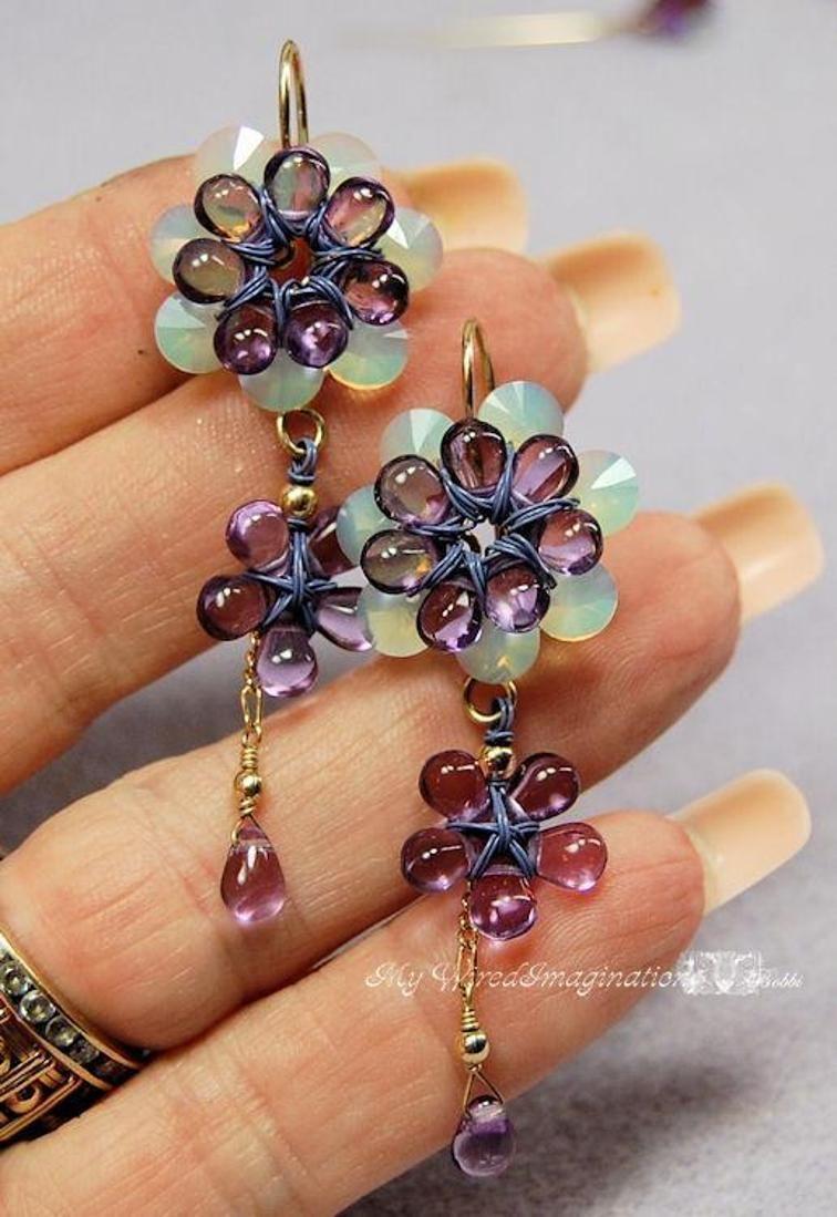 Wire Wrap Jewelry Flower Earring Tutorial Freesia Earrings How to Make Earrings Earring Instructions Fanciful Flowers