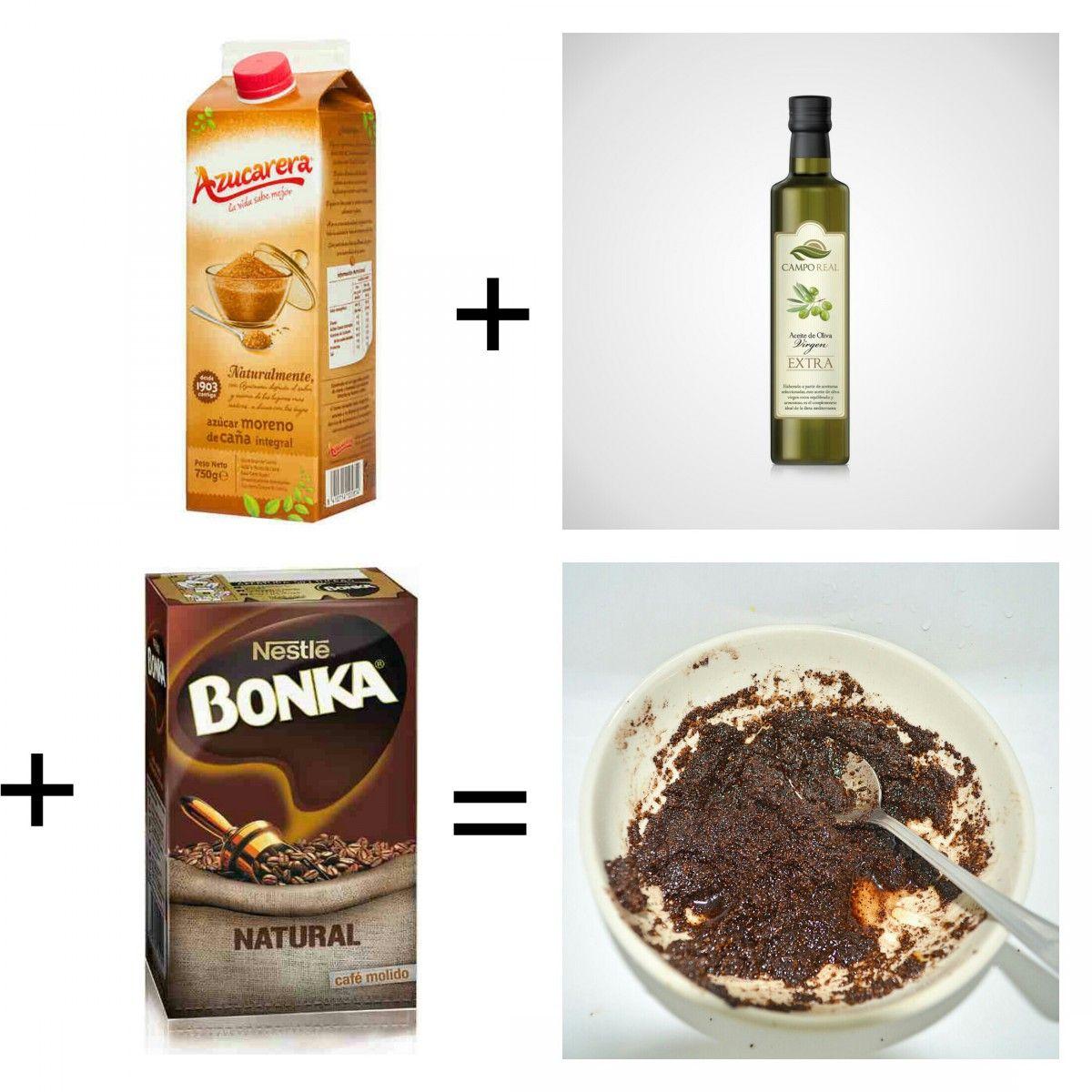 exfoliante casero de café, productos necesarios: azucar moreno, aceite de oliva extra y cafe molido natural