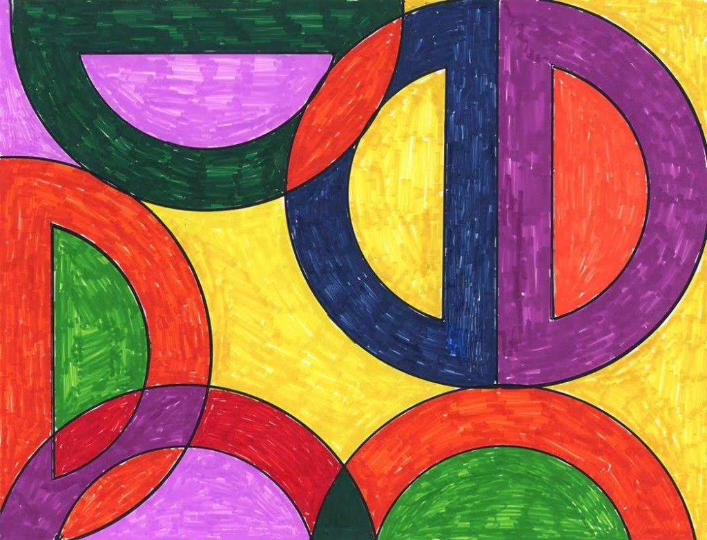 Frank stella abstract drawing use a protractor sharpie brush marker and finger paint paper for a shiny finish frankstella