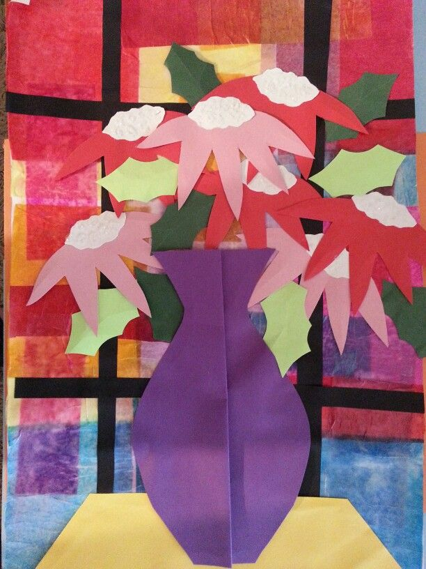 Tissue Collage Stained Gl Window With Construction Paper Poinsettias