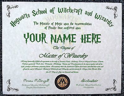 Harry potter hogwarts diploma certificate any name ideal for any witch or wiza view more on for Hogwarts diploma template