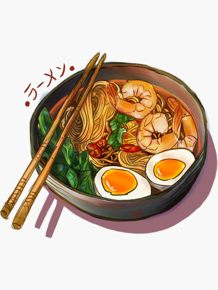Japanses Ramen Noodles Bowl Sticker By Wieskunde Food Artwork Watercolor Food Food Illustrations