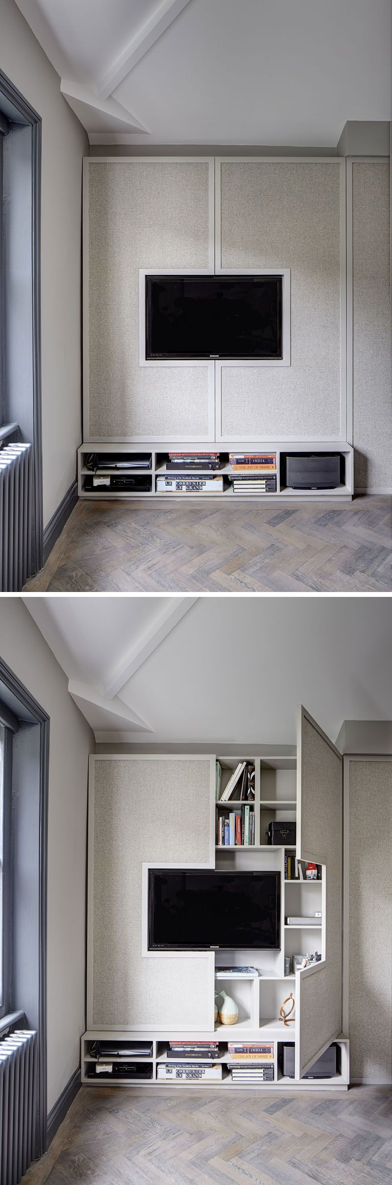 Tv Unit In Living Room: Hide Shelves With Large Custom-Made