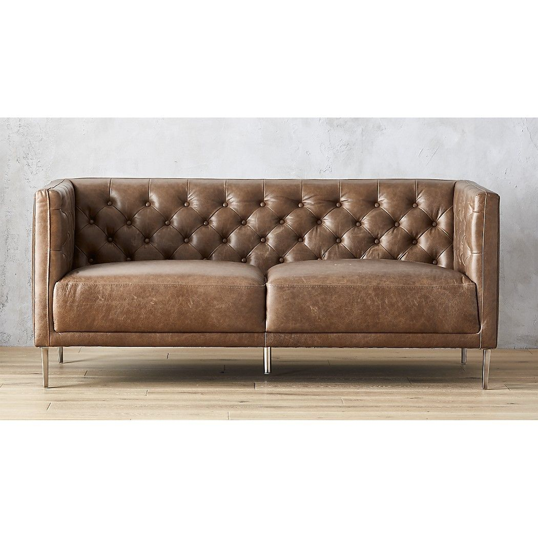 Savile Dark Saddle Leather Tufted Apartment Sofa Reviews