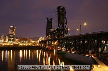 portland oregon steel bridge | Portland, Oregon: Steel Bridge, Willamette River, Daybreak (Photo ...