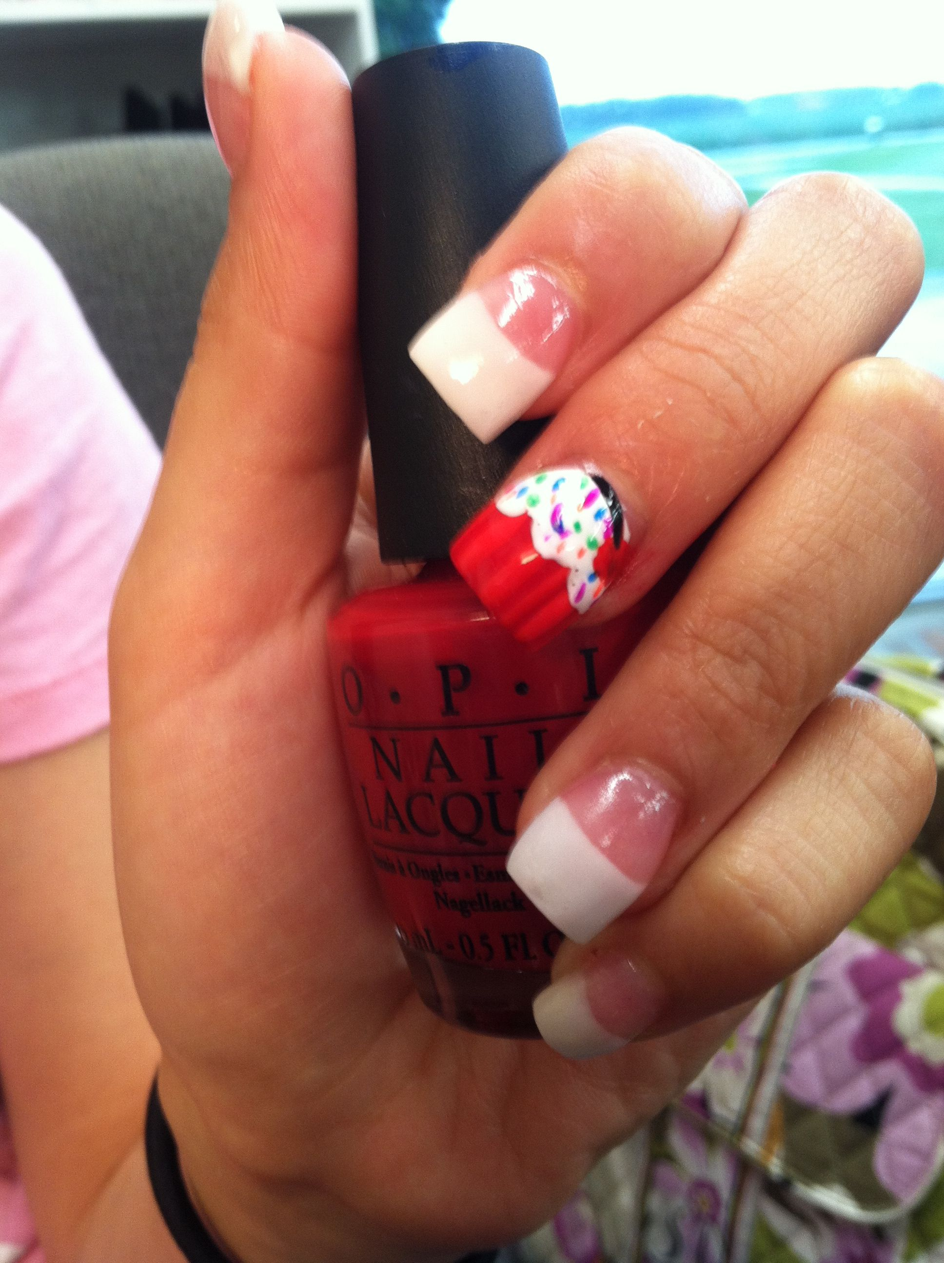 Acrylic white tip sculpt with cup cake nail art