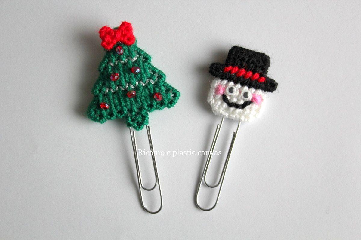 Set segnalibri natalizi, albero di Natale, pupazzo di neve, idea regalo Natale, idea regalo per lettori, planner accessories by Ricamoeplasticcanvas on Etsy