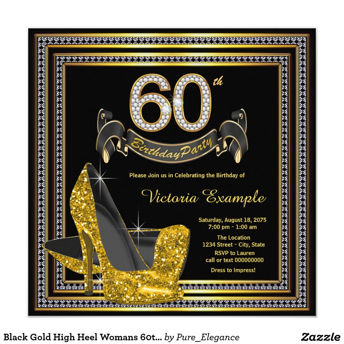 Black Gold High Heel Womans 60th Birthday Party Card   Party ...