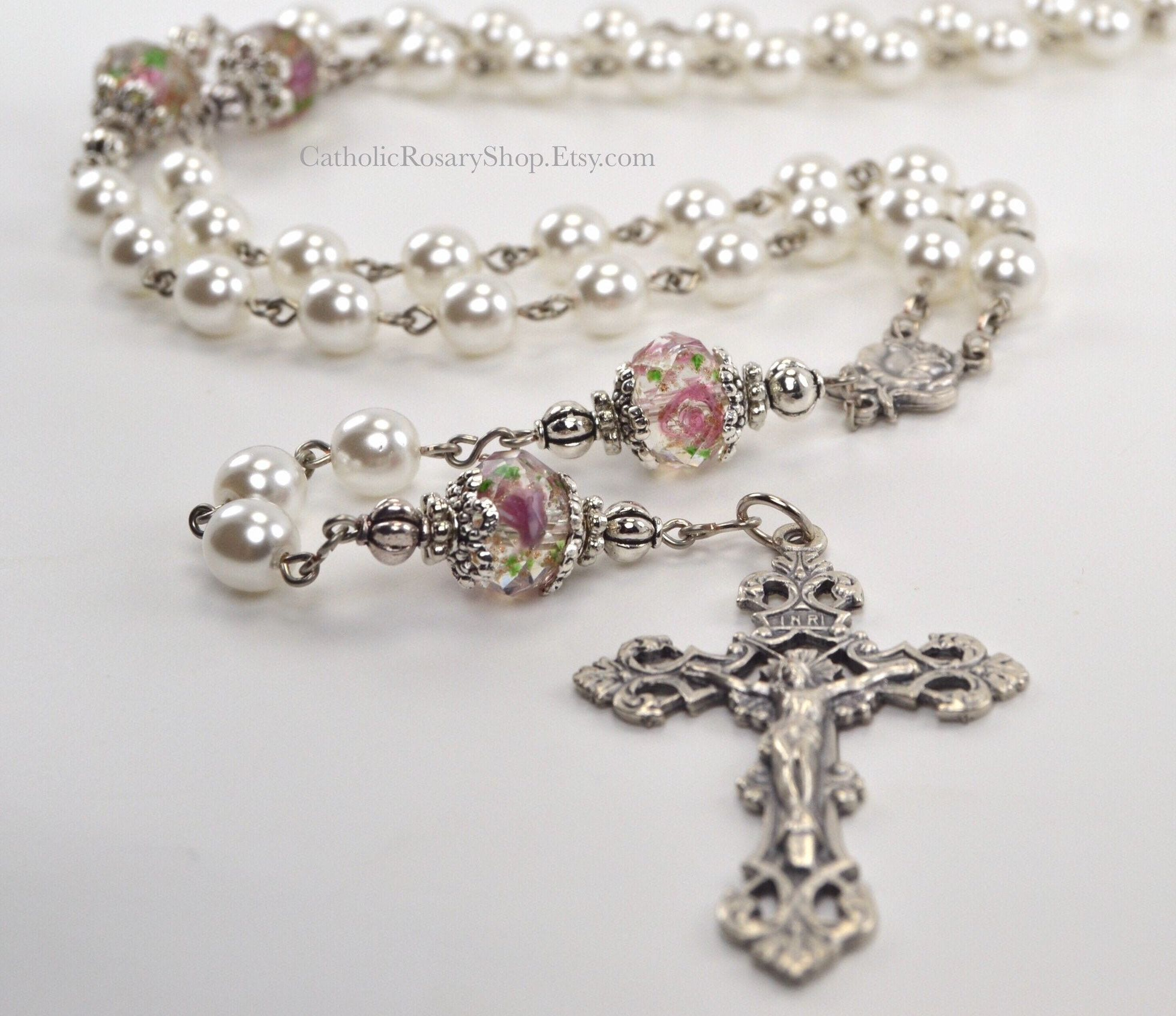 Catholic Rosary in Pink Floral with White Pearls