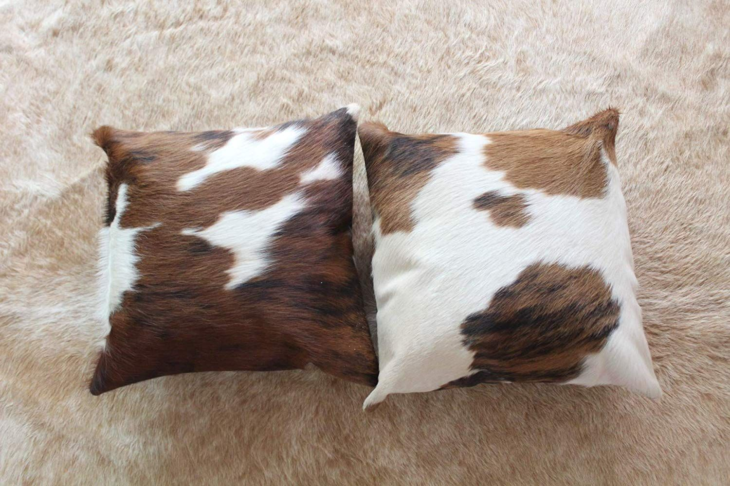 Nature S Robe Set Of Two Cowhide Pillow Case Single Sided Hair On