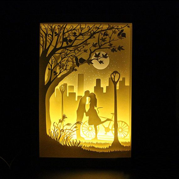 Silhouette Love Moon Paper Cut Light Box Night Light By