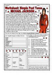English worksheet: Worksheet: Simple Past Tense (Michael Jackson) - 4 pages