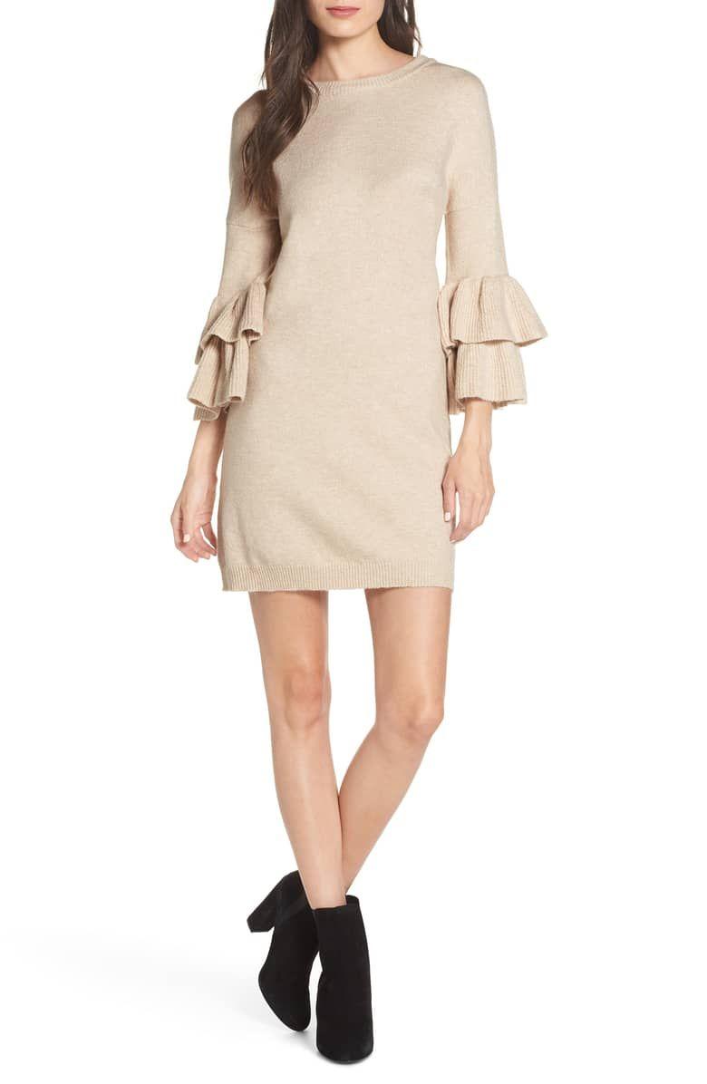 38624ee0662 Ruffle Sleeve Sweater Dress