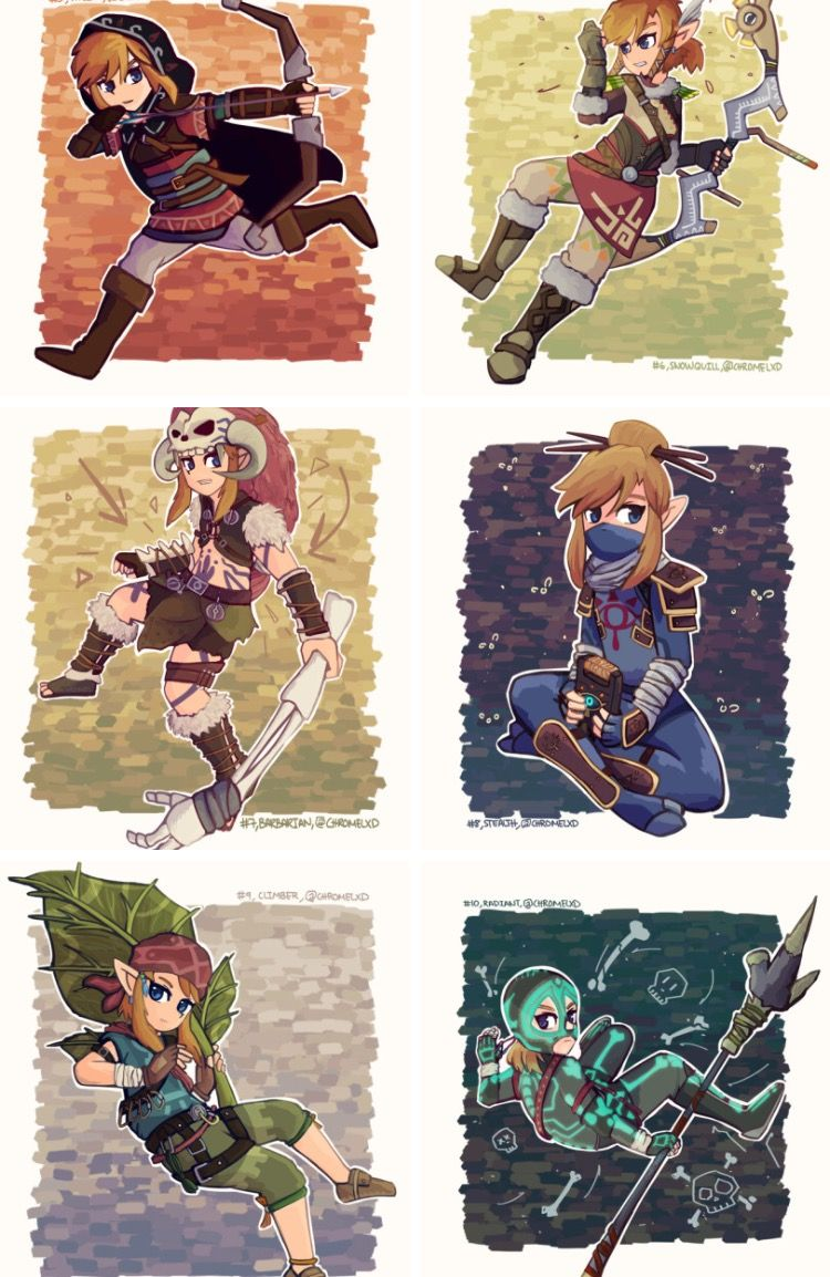 Selected Clothing Styles From Botw Legend Of Zelda Breath